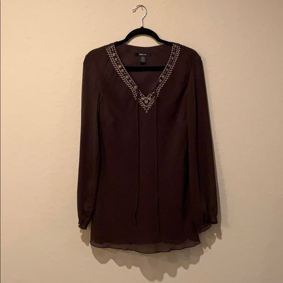 Style & Co Tops - Style and Co. brown blouse with light gold inlay!